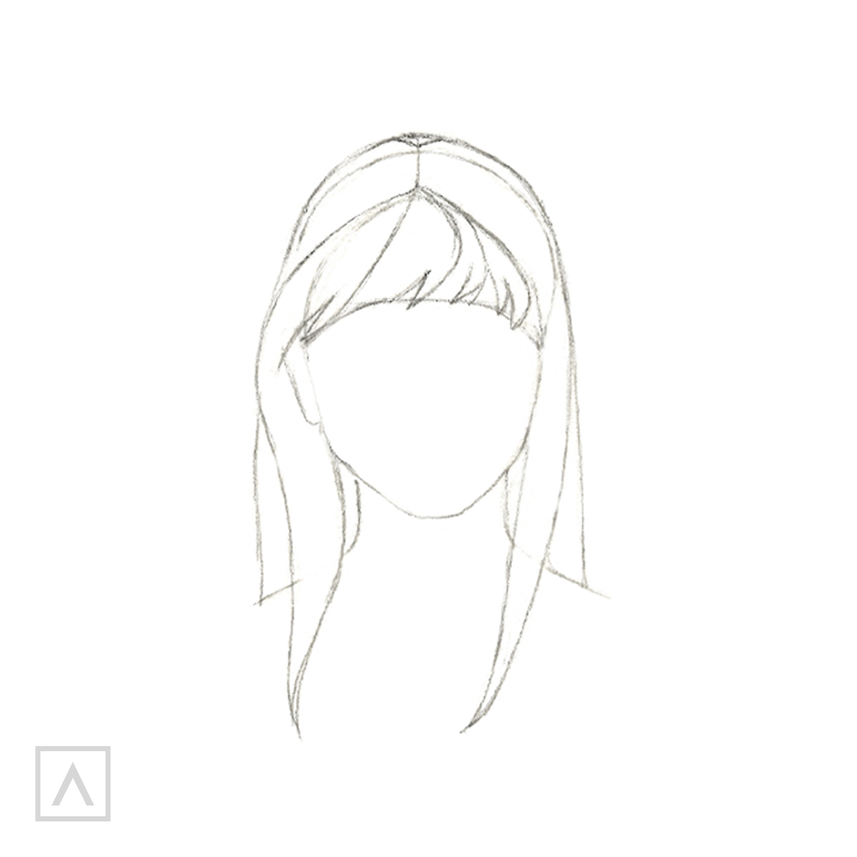 How to Draw Hair with Bangs - Step 4