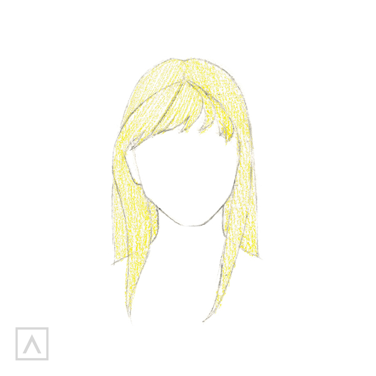 How to Draw Hair with Bangs - Step 6
