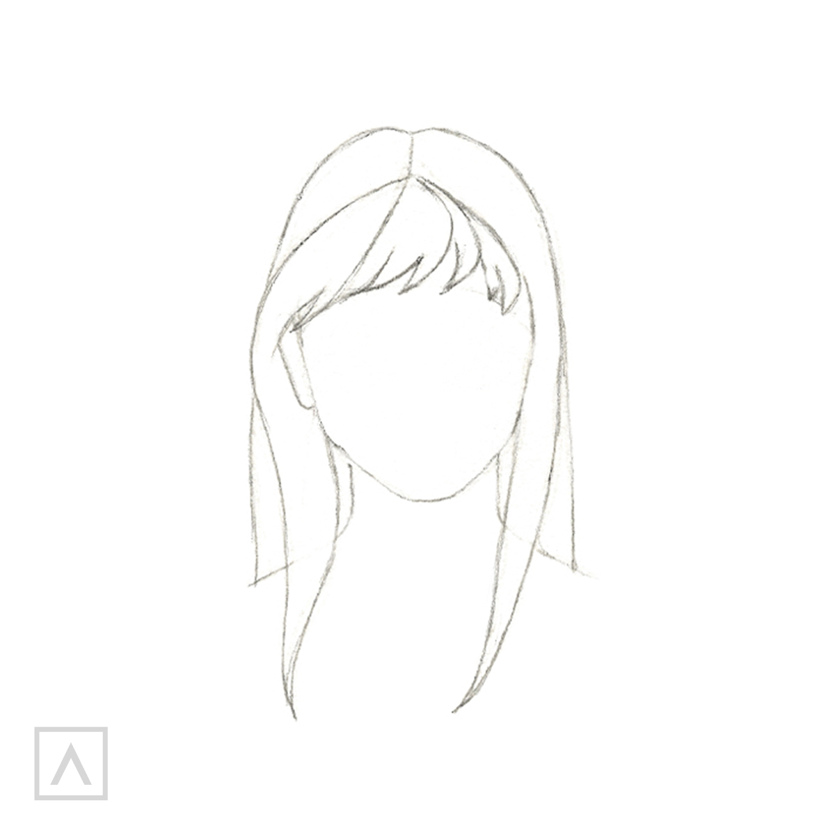 How to Draw Hair with Bangs - Step 5