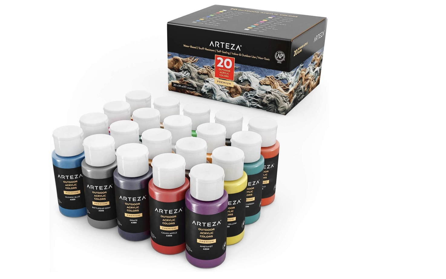 Outdoor Acrylic Paint - Set of 20